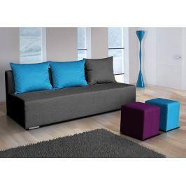 Rozkládací pohovka v tmavě šedé barvě s taburety a modrými polštáři F1110