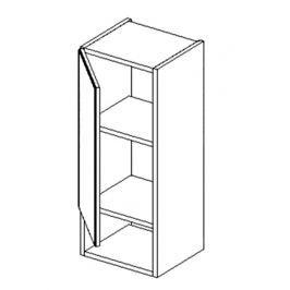 Horní skříňka s regálem do koupelny 30 cm v levém provedení bílý lesk a ořech W30PD KN484