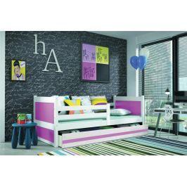 Dětská postel s úložným prostorem v kombinaci bílé a růžové barvy 90x200 F1133