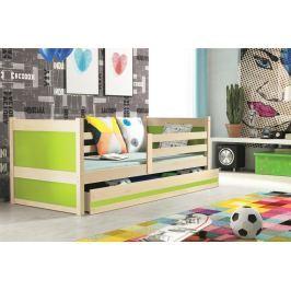 Dětská postel s úložným prostorem v dekoru borovice v kombinaci se zelenou barvou 90x200 F1133