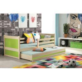 Dětská postel s přistýlkou v dekoru borovice v kombinaci se zelenou barvou 90x200 F1133