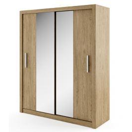Šatní skříň s posuvnými dveřmi v dekoru dub shetland se zrcadlem typ 03 KN343