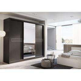 Moderní šatní skříň v elegantní černé barvě se zrcadlem KN344