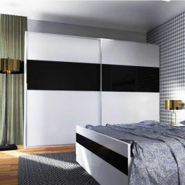 Šatní skříň s posuvnými dveřmi v kombinaci bílá a černý lesk TK2165