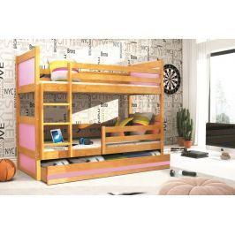 Dětská patrová postel s úložným prostorem v dekoru olše v kombinaci s růžovou barvou F1133