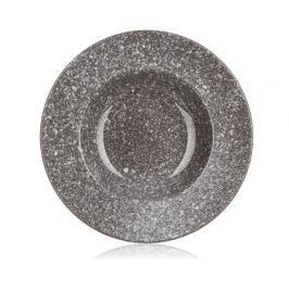 Talíř keramický hluboký GRANITE 23,8 cm, hnědý, lesk