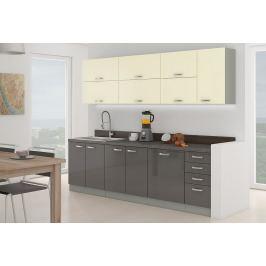 Kuchyňská linka 260 cm šedý a krémový lesk KN414
