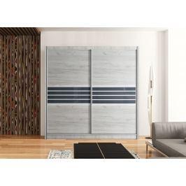 Moderní šatní skříň 203 cm s posuvnými dveřmi v barvě dub craft a grafit KN463