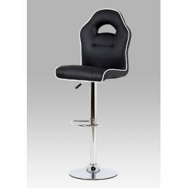 Barová židle v kombinaci černá ekokůže a chrom AUB-606 BK AKCE