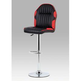 Barová židle koženka černočervená chrom AUB-610 RED AKCE