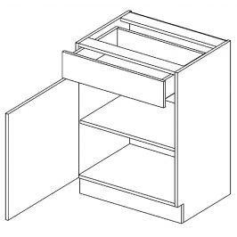Dolní skříňka levá 60 cm se zásuvkou akácie a vanilka lesk D60S1 KN411