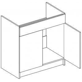 Dolní skříňka pod dřez 80 cm akácie a vanilka lesk D80ZL KN411