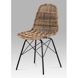 Jídelní židle kov černá umělý ratan hnědý melír SF-822 TRI AKCE