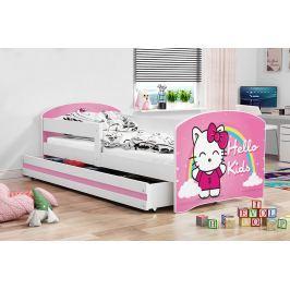Dětská postel v růžové barvě s moderním motivem kočky 80x160 F1227