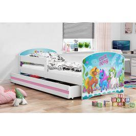 Dětská postel v bílé barvě s moderním motivem pony 80x160 F1227