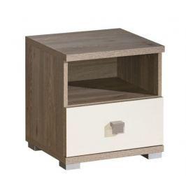Noční stolek se zásuvkou v barvě dub nelson v kombinaci s perlovým leskem typ V9 KN601