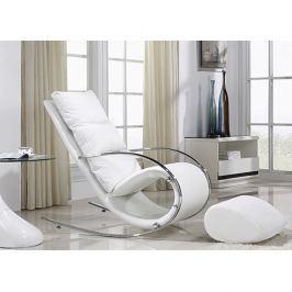 Houpací pohodlné křeslo v bílé barvě s kovovou podnoží TK3025