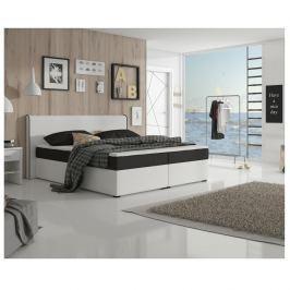Manželská postel 160x200 cm typu ECOSPRING bílá ekokůže a černá látka TK3024 MEGAKOMFORT