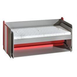 Dětská postel 195x80 cm s psacím stolem v šedé a bílé barvě typ F14 KN742