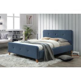 Manželská postel s vysokým čelem 140x200 cm v modré denim barvě s roštem KN234