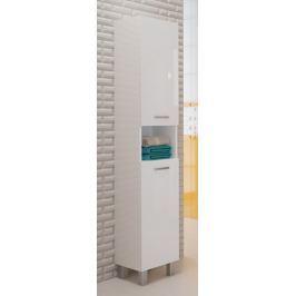 Vysoká koupelnová skříňka z lamina v dekoru dub chocolate 30 cm F1297