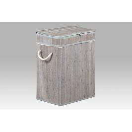Koš na prádlo bambusový šedobílý obdélníkový KD4401 AKCE