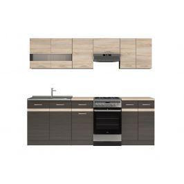 Kuchyňská linka 230 cm v kombinaci wenge a dub sonoma W001