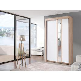 Šatní skříň 120 cm s posuvnými dveřmi v bílé barvě s dekorem dub sonoma a zrcadlem a korpusem dub F2011