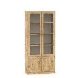 Moderní prosklená vitrína s dvířky vyrobená z masivního dřeva v klasickém stylu MV051