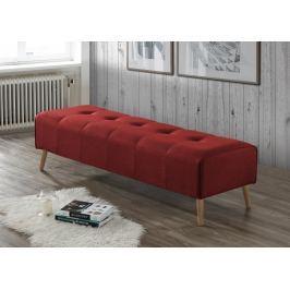 Čalouněný taburet v červené barvě na dřevěné konstrukci v dekoru dub KN415