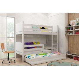 Dětská patrová postel s přistýlkou v bílé barvě F1381