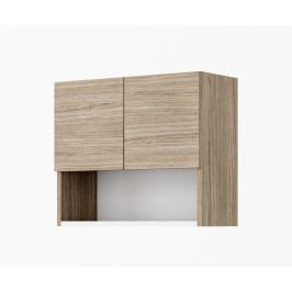 Závěsná skříňka 56 cm k předsíni v dekoru ořech a bílé matné barvy KN1040