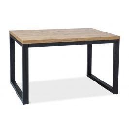 Jídelní stůl 150x90 cm z dýhy v dekoru dub s černou kovovou konstrukcí typ II KN444