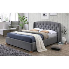 Manželská postel 160x200 cm čalouněná látkou v šedé barvě s roštem a úložným prostorem KN925
