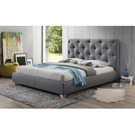 Manželská postel 160x200 cm čalouněná látkou v šedé barvě s roštem KN920