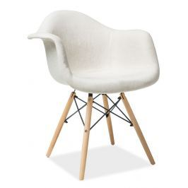 Jídelní čalouněná židle v béžové barvě s dřevěnou konstrukcí KN901