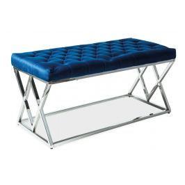 Čalouněná lavice v granátově modré barvě na chromové konstrukci KN965