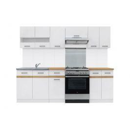 Kuchyňská linka 240 cm v kombinaci bílý lesk a dub zlatý W001