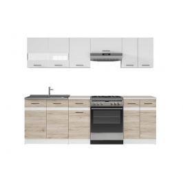 Kuchyňská linka 240 cm v kombinaci bílý lesk a dub san remo světlý W001