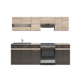 Kuchyňská linka 240 cm v kombinaci wenge a dub sonoma W001