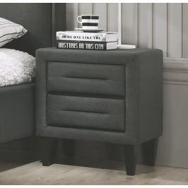Čalouněný noční stolek se zásuvkami v tmavě šedé barvě KN933