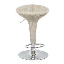 Barová židle, ratan béžový / chrom, Turid