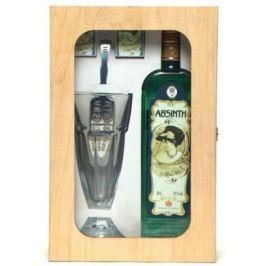 Fruko Shulz Absinth sada 70% 0,5l + 1x sklo Dřevěný box