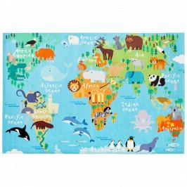 Obsession koberce  80x120 cm cm Torino kids 233 WORLD MAP,   80x120 cm Modrá