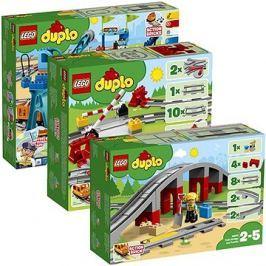 LEGO DUPLO 10875 Nákladní vlak + 10882 Koleje + 10872 Doplňky k vláčku – most a koleje