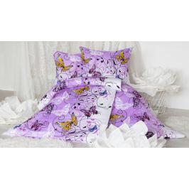 XPOSE ® Prodloužené bavlněné povlečení KAROLÍNA - fialová 140x220, 70x90