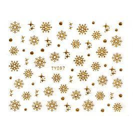 Samolepky na nehty 3D - Sněhové vločky zlaté - TY097